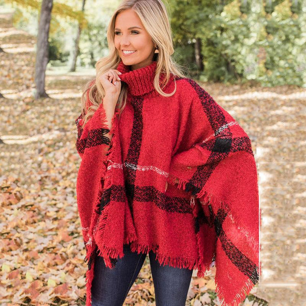High collar tassel cape sweater