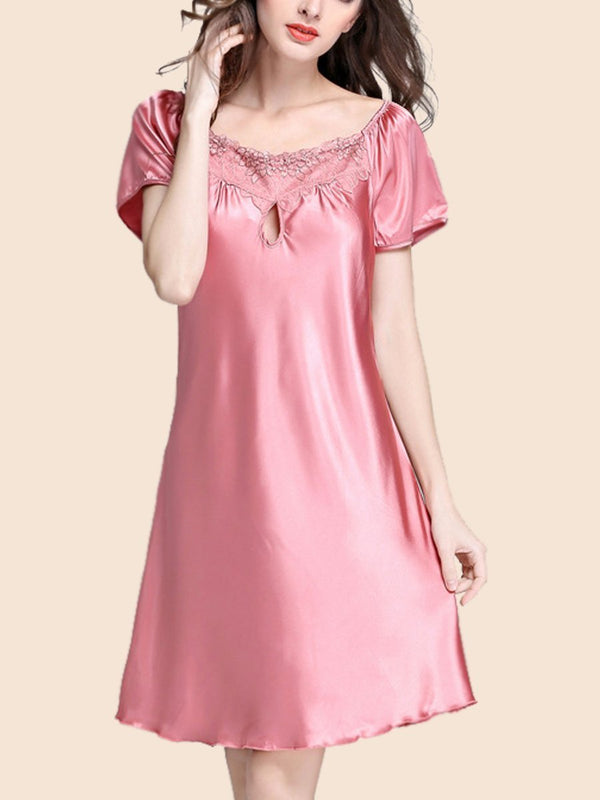 Ice silk sexy hollow style short-sleeved pajamas