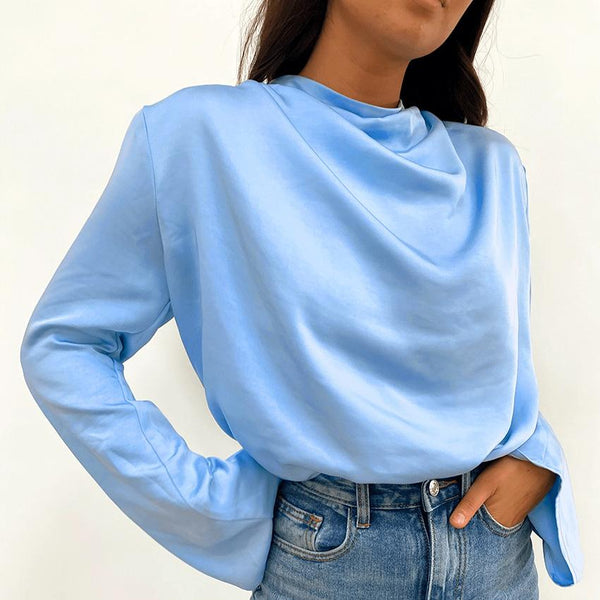 High collar round neck women satin puff sleeve top