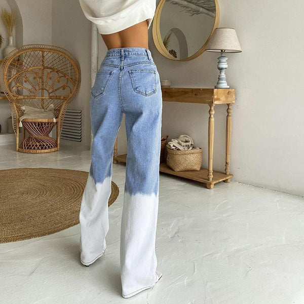 Color joint high waist womne straight pants