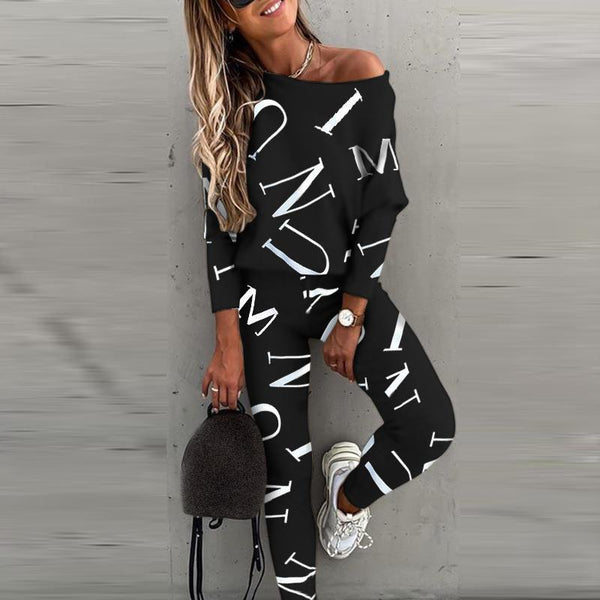 Women letters printed leisure top&pants set
