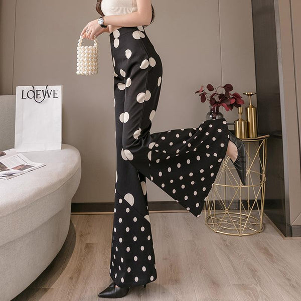 Small&large polka dots women black bell-bottomed pants