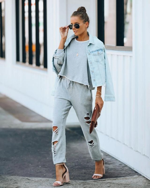 Chic hole plain loose two piece suit