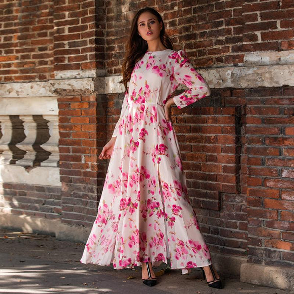 Bohemian style long sleeve women flower printed dress