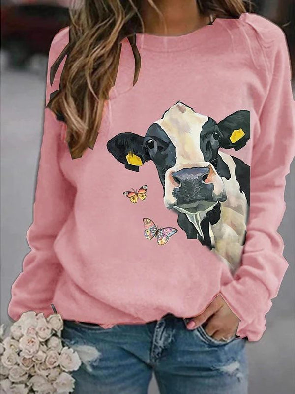 Pure color cow printed casual women sweater