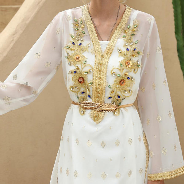 Elegant women long sleeve white thin dress with rhinestone