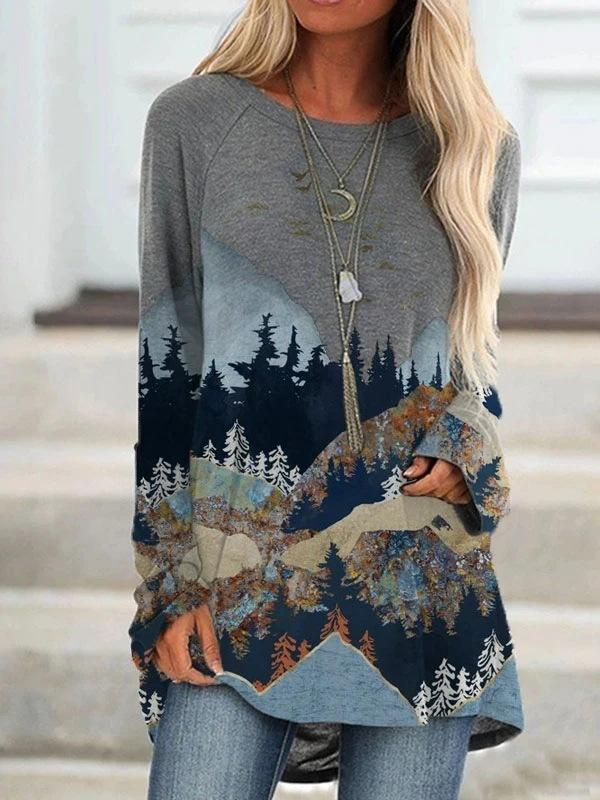 Loose round neck mountains-and-waters painting long sleeve top