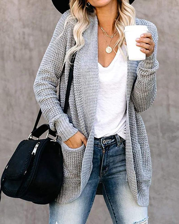 Winter plain sweater cardigan with packets