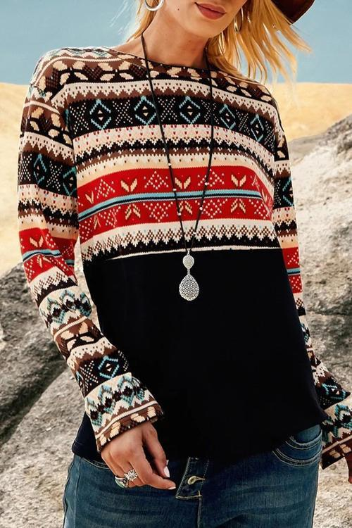 Retro printed Crew Neck Long Sleeve top