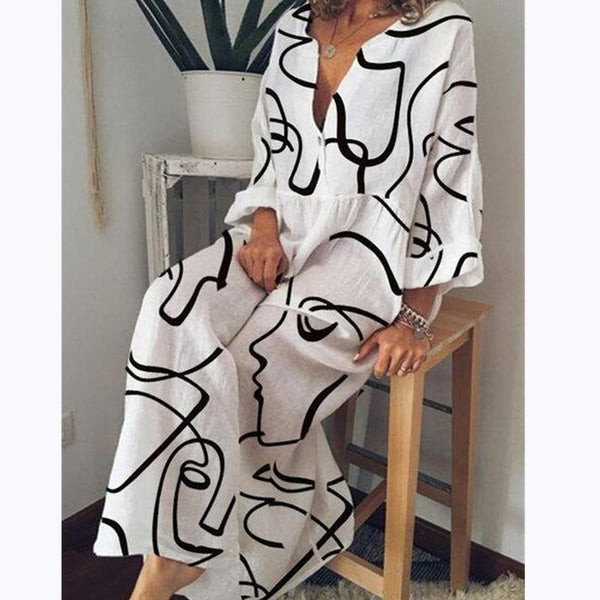 Figure printed loose long sleeve maxi dress