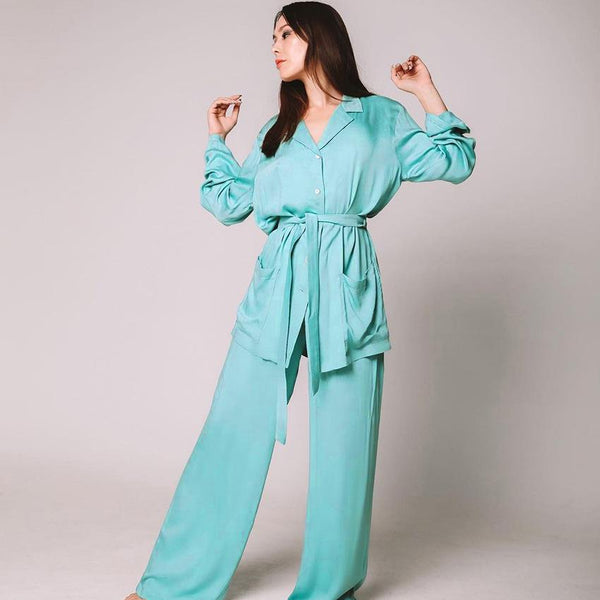 V neck lace-up pure color satin pajamas set