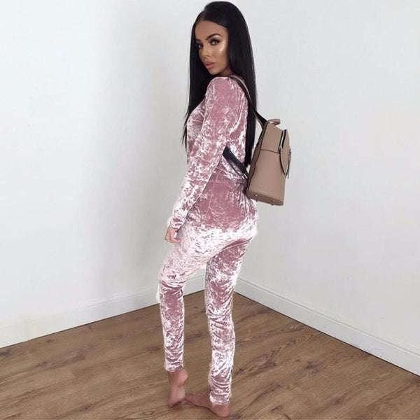 Simple women pure color velvet sport suit