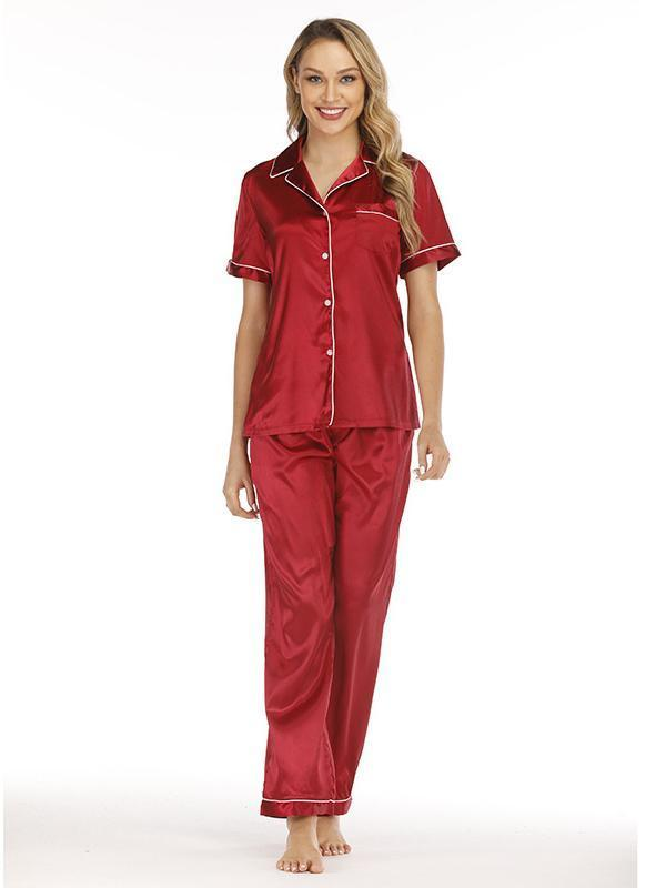 Soft silk satin short-sleeved and pants pajamas suit