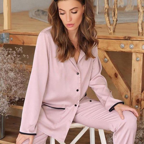 2021 V-neck women spring satin pajamas set