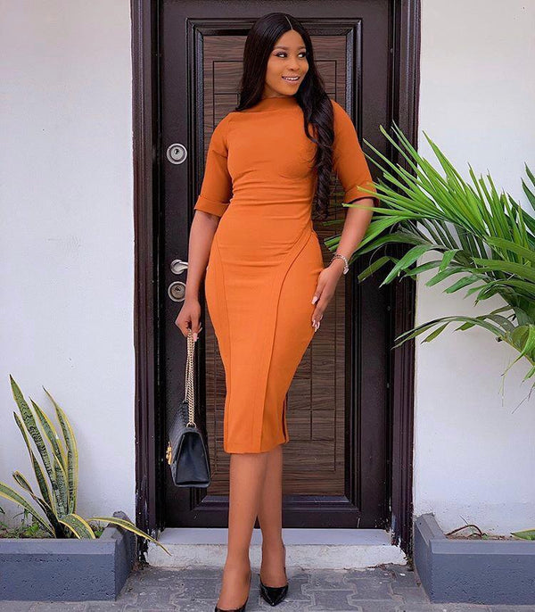 Orange women elegant half sleeve slim dress