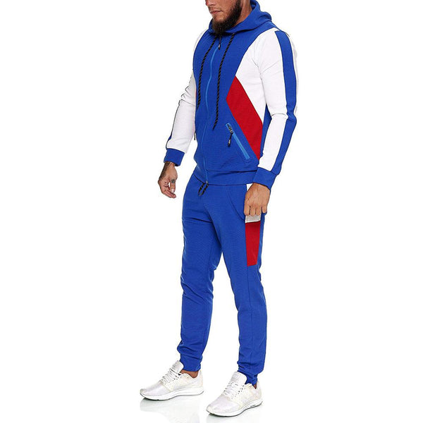 Men multicolor slim sport suit with zipper