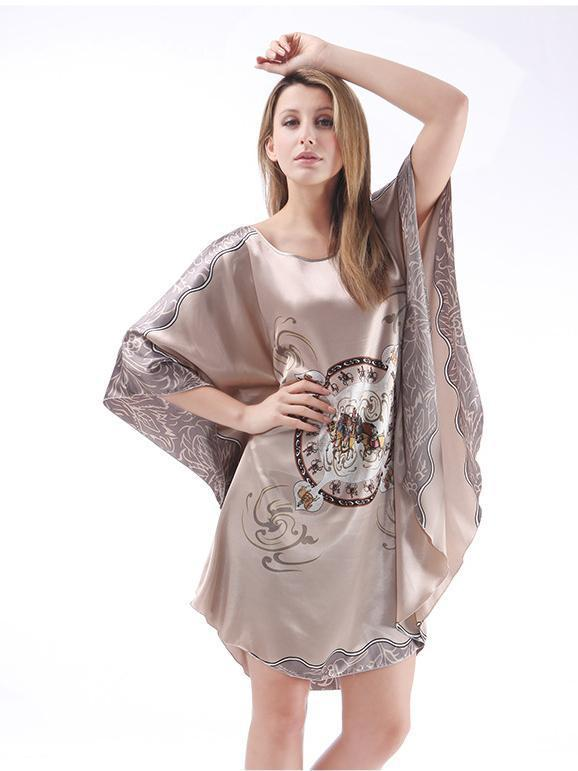 Loose printed silk bat sleeve pajamas