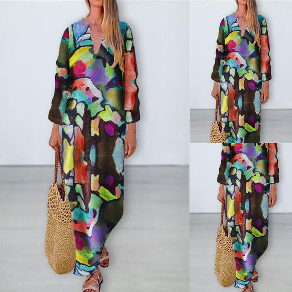 V neck colorful printed long sleeve maxi dress