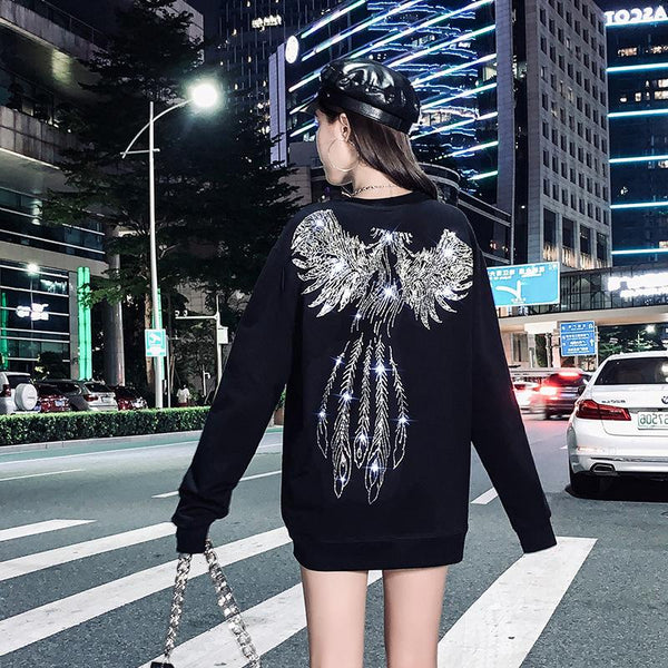Casual rhinestone wings printed women top