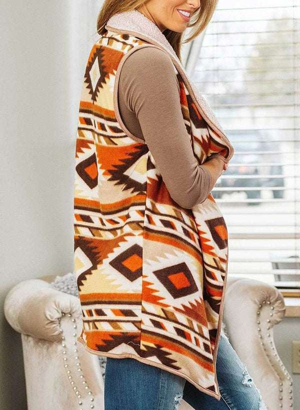 Thick vest Bohemian geometric printed Plush coat