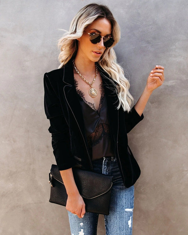 Chic plain slim plain velvet coat
