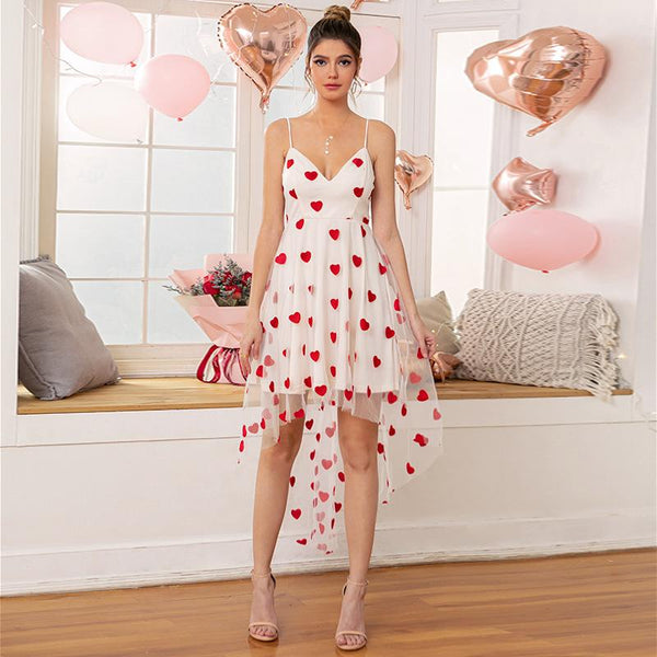 Women heart-shaped printed irregular bottom braces dress