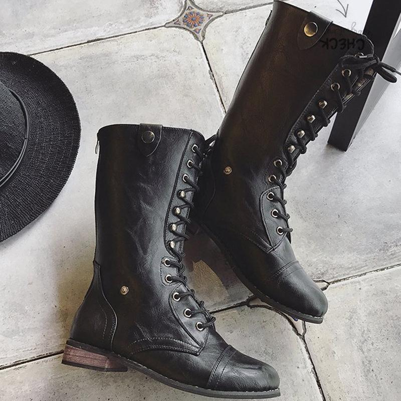 Womens Chunky Heel PU Daily Lace-up Boots