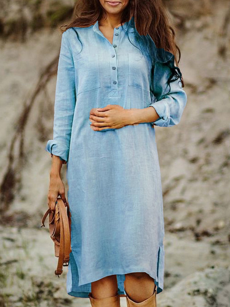 Solid Long Sleeves V-Neck Casual Shirt Dress