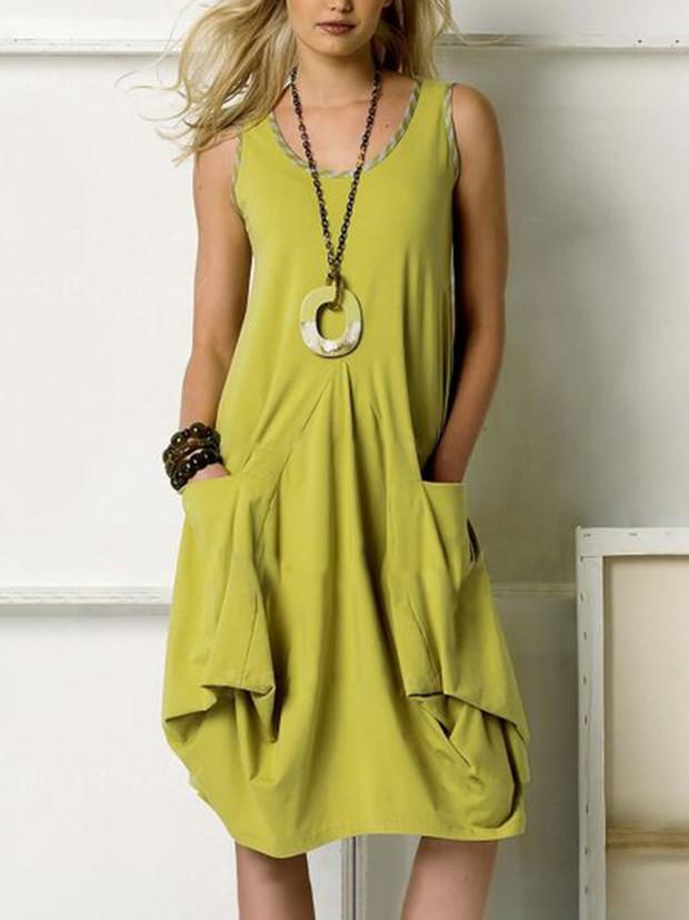 Sleeveless Round Neck Loose Casual Pocket Dresses