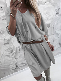 Shift Women Going out Elegant 3/4 Sleeve Paneled Solid Fall Dress