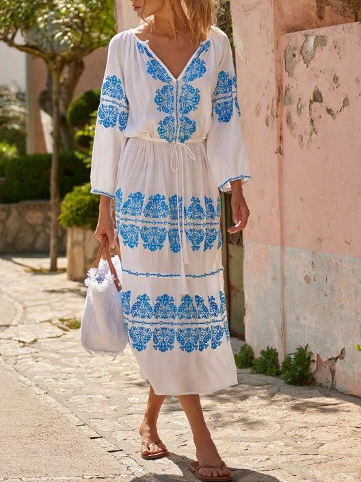 3/4 Sleeve V Neck Linen Dresses