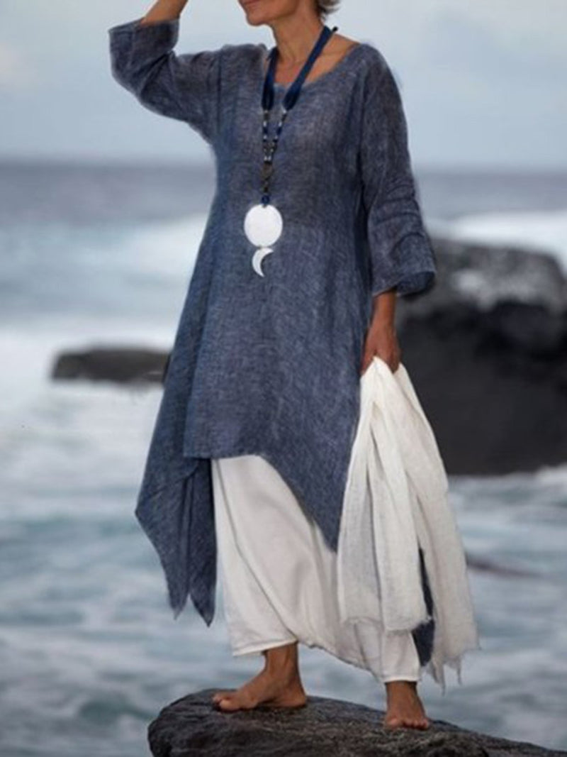 Vintage Asymmetric 3/4 Sleeve Crew Neck Linen  Dress