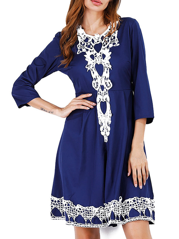 Elegant Printed Swing Casual Dress