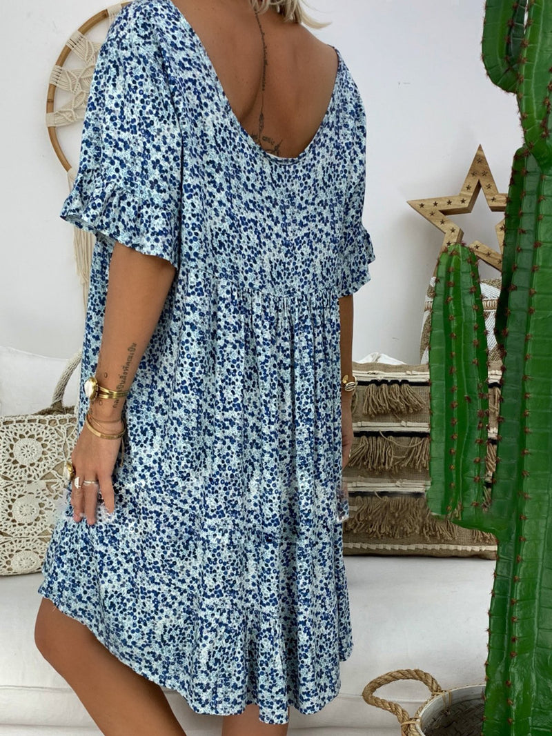 Women V Neck Casual Half Sleeve Dresses
