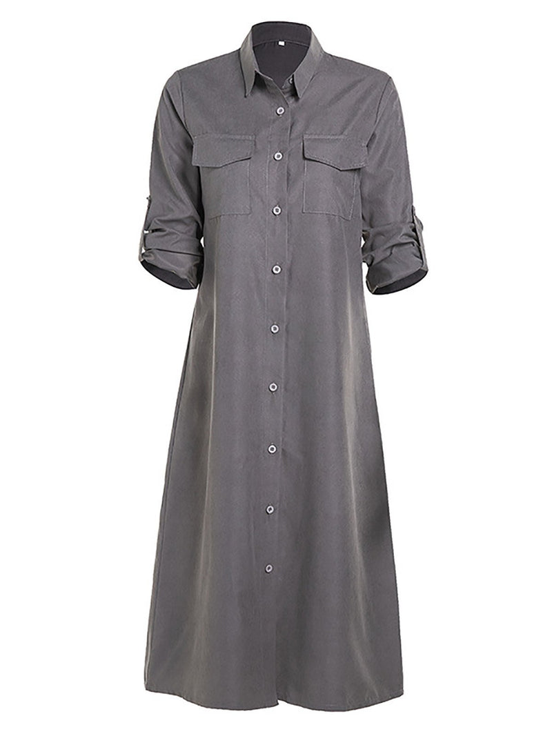 Women Shift Long Sleeve Casual Dresses