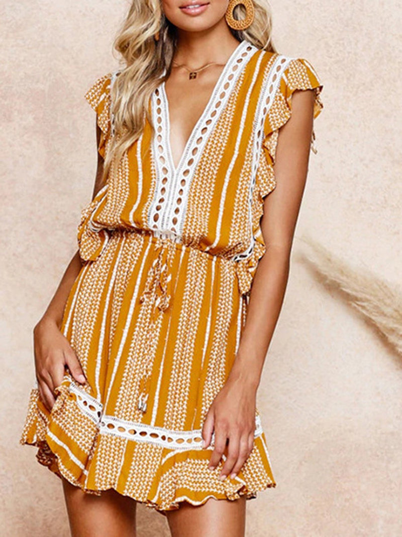 Yellow Shift Daily Boho Mini Dress