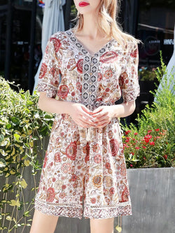 V Neck Boho A-Line Daily Casual Floral Printed Holiday Mini Dress