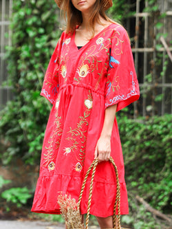V Neck Embroidered A-Line Daily Boho Leaf Holiday Midi Dress