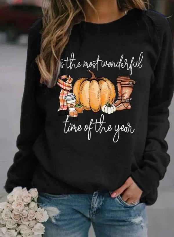 Halloween  Round neck pumpkin and letter printed long sleeve top