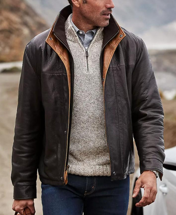 Brown winter simple men coat