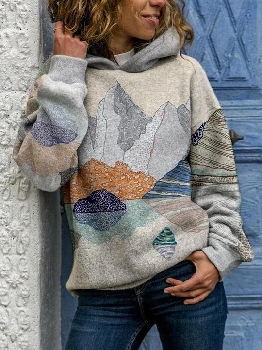 Chic mountains-and-waters painting hoodie