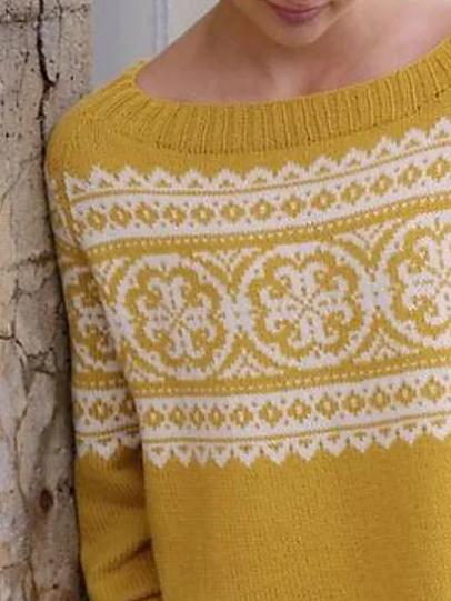 Yellow round neck printed sweater