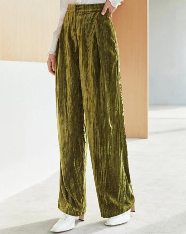 Fashion wide leg plian loose velvet pants