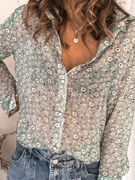 2020 lapel floral printed long sleeve shirt