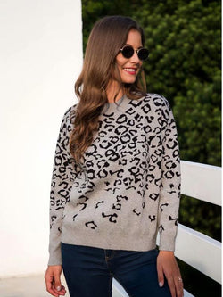 Leopard Crew Neck Long Sleeve Sweater