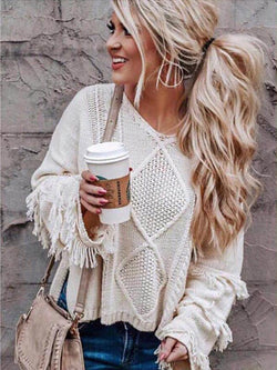 Fringed Lanyard Loose Long Sleeve Sweater