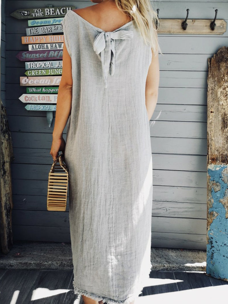 Crew Neck Women Dresses Shift Daily Boho Plain Dresses