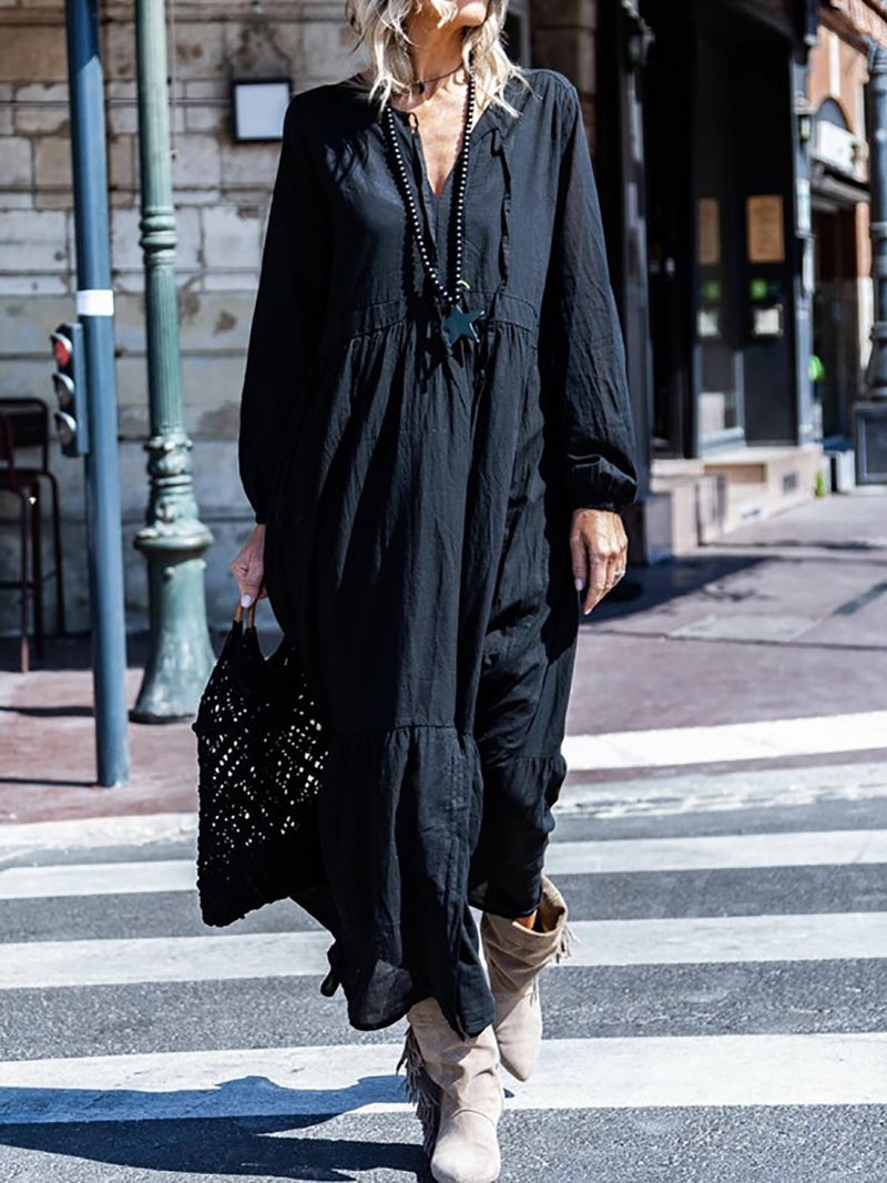 V Neck Long Sleeve Maxi Dresses