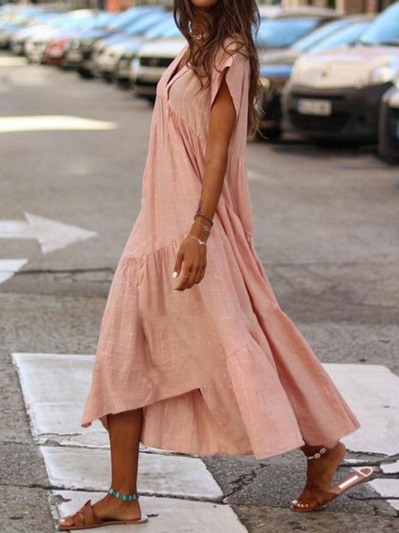 Women Vintage V Neck Maxi Dress