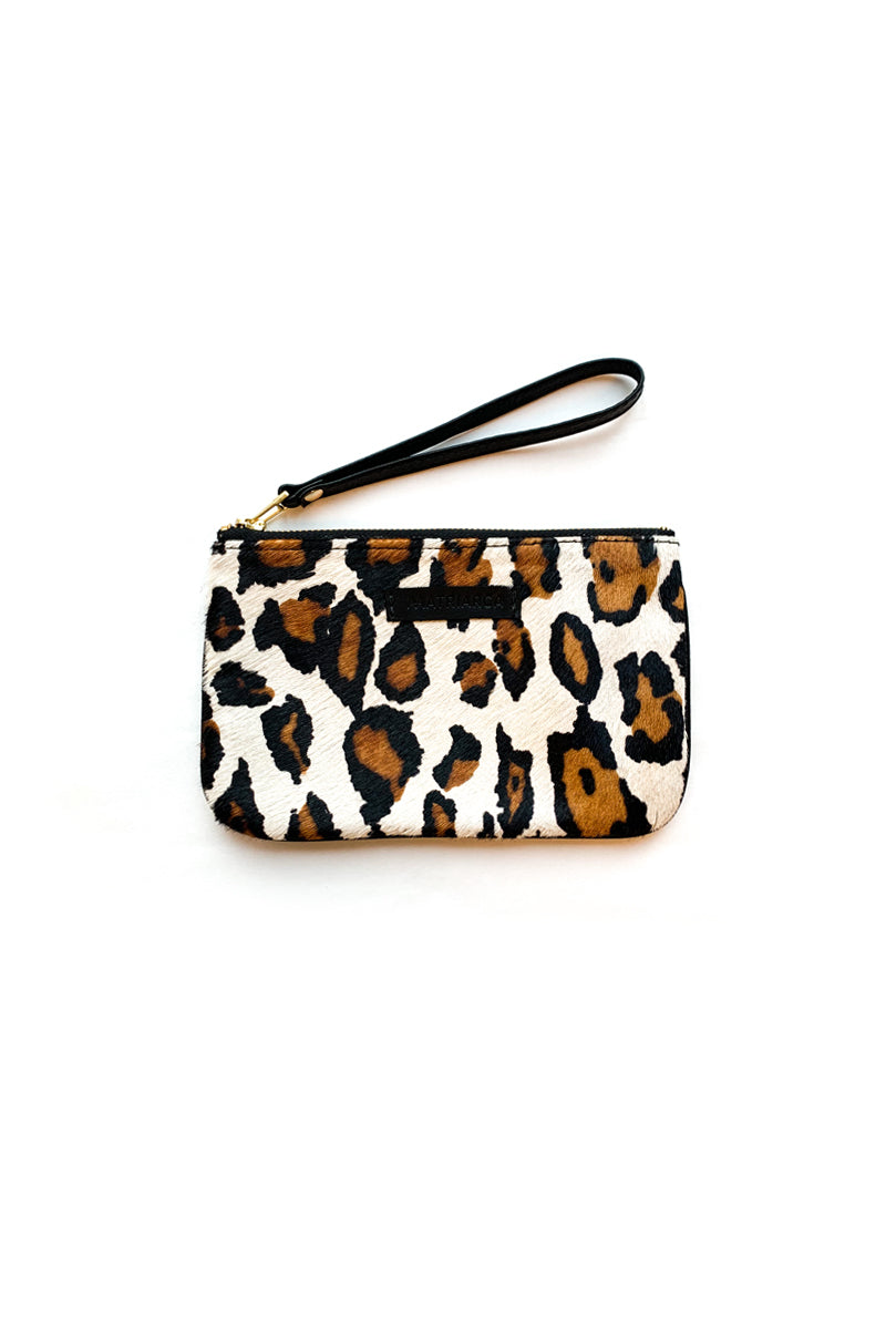 Mini Clutch<br/> Pelo Leopardo Blanco